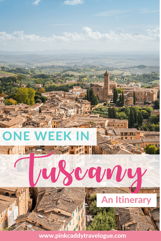 Headed to the land of cypress trees, wine, and incredible food? Check out this perfect one-week Tuscany itinerary! #italy #travel #tuscany #roadtrip #florence
