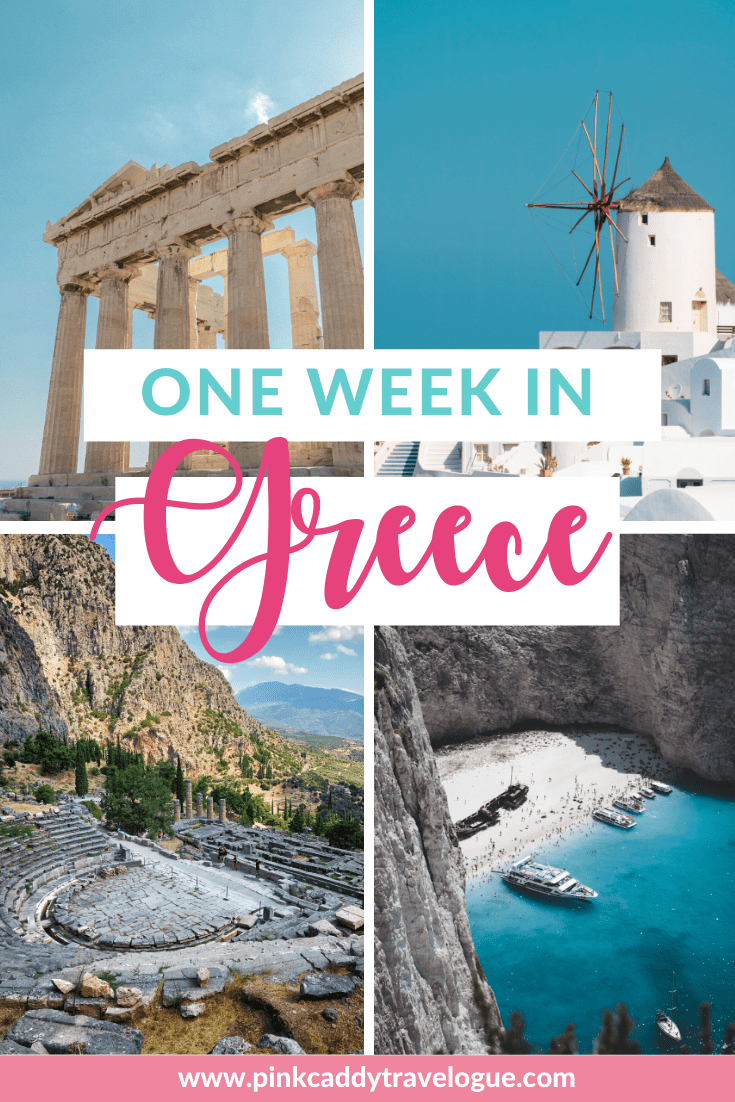 Only have one week to spend in Greece? Then check out this itinerary to make sure you hit the highlights! #greece #travel #itinerary #athens #santorini