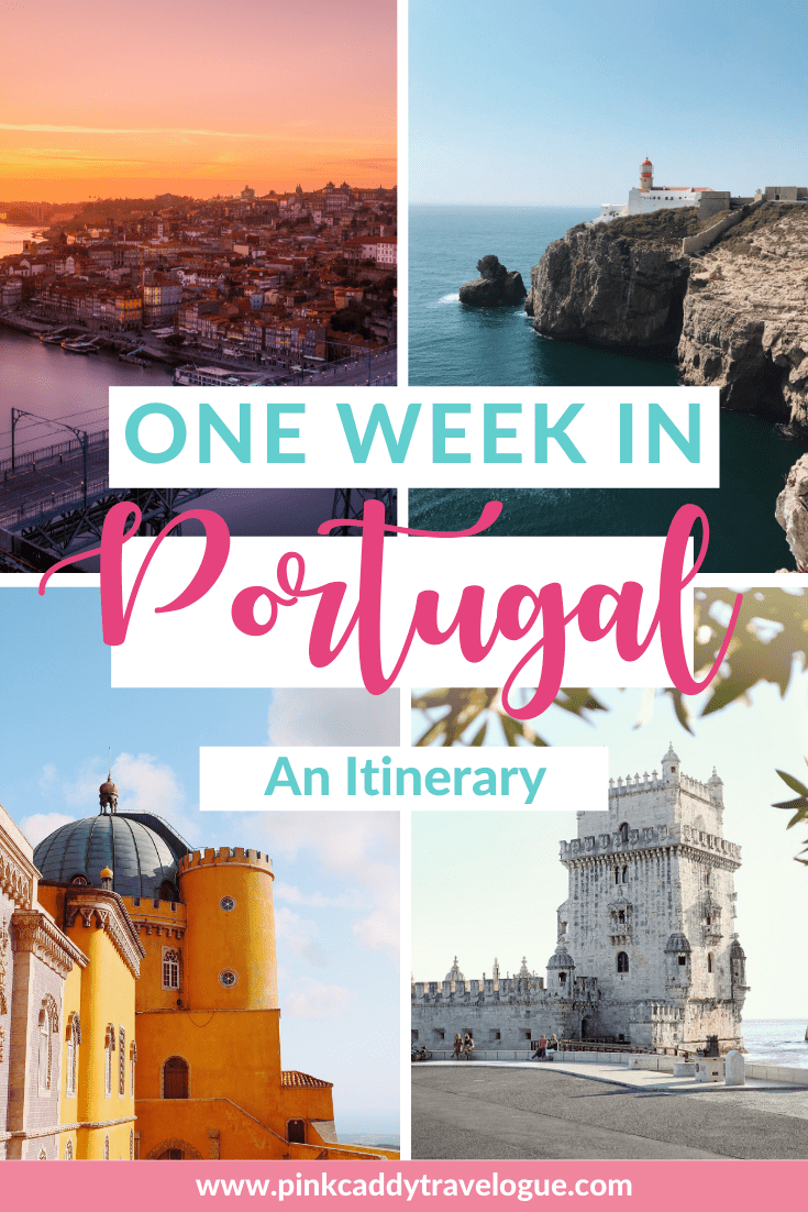 The perfect one week in Portugal itinerary! Visit the country's capital, Lisbon, explore the colorful streets or Porto, taste wine in the Douro Valley, and marvel at the beauty of the Algarve region. #portugal #travel #port #europe #roadtrip