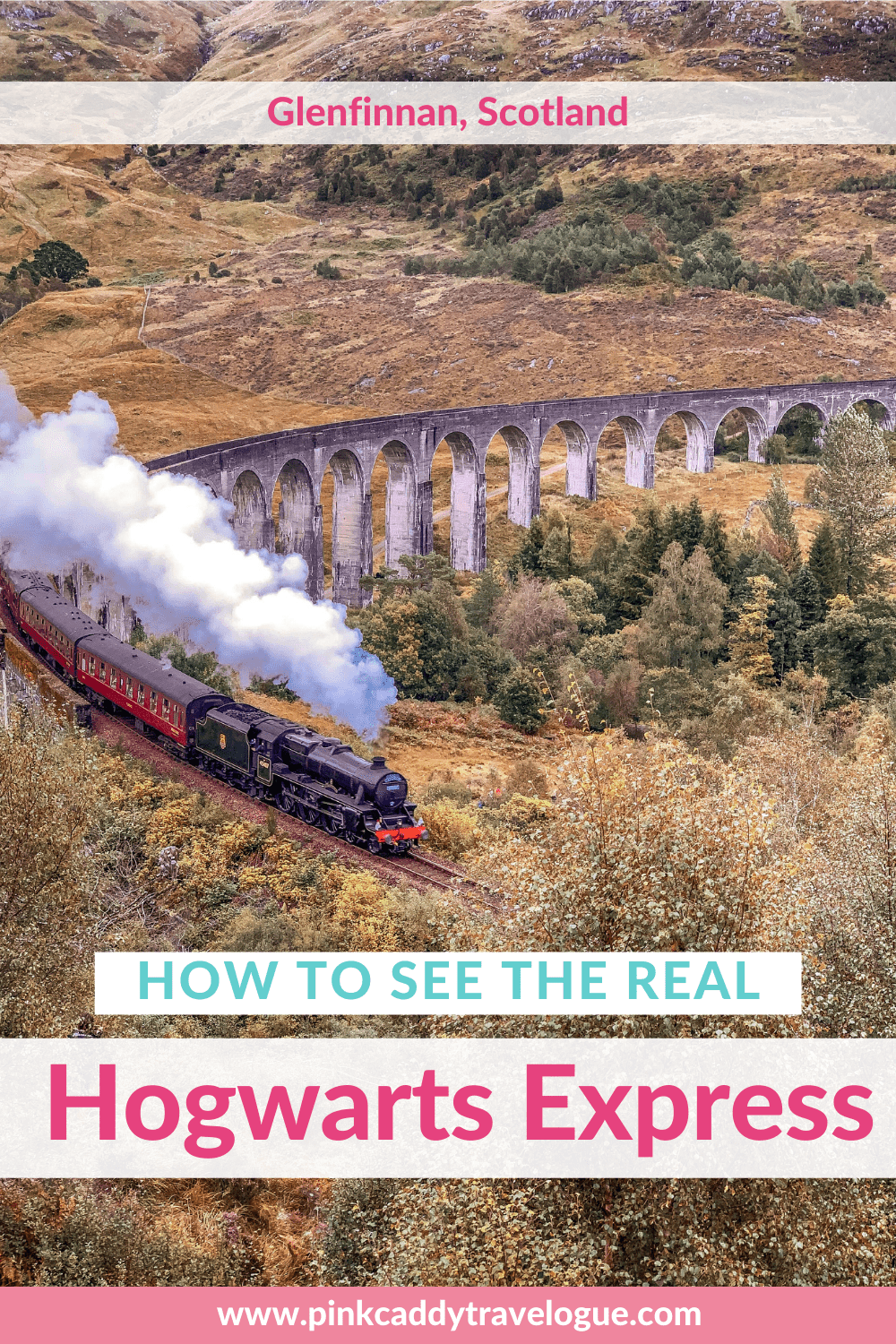 Seeing the real-life Hogwarts Express is a bucket list item for any Harry Potter fan! Check out this guide for all you need to know to see the Harry Potter train and Glenfinnan Viaduct in Scotland #scotland #harrypotter #harrypottertrain #hogwartsexpress #travel