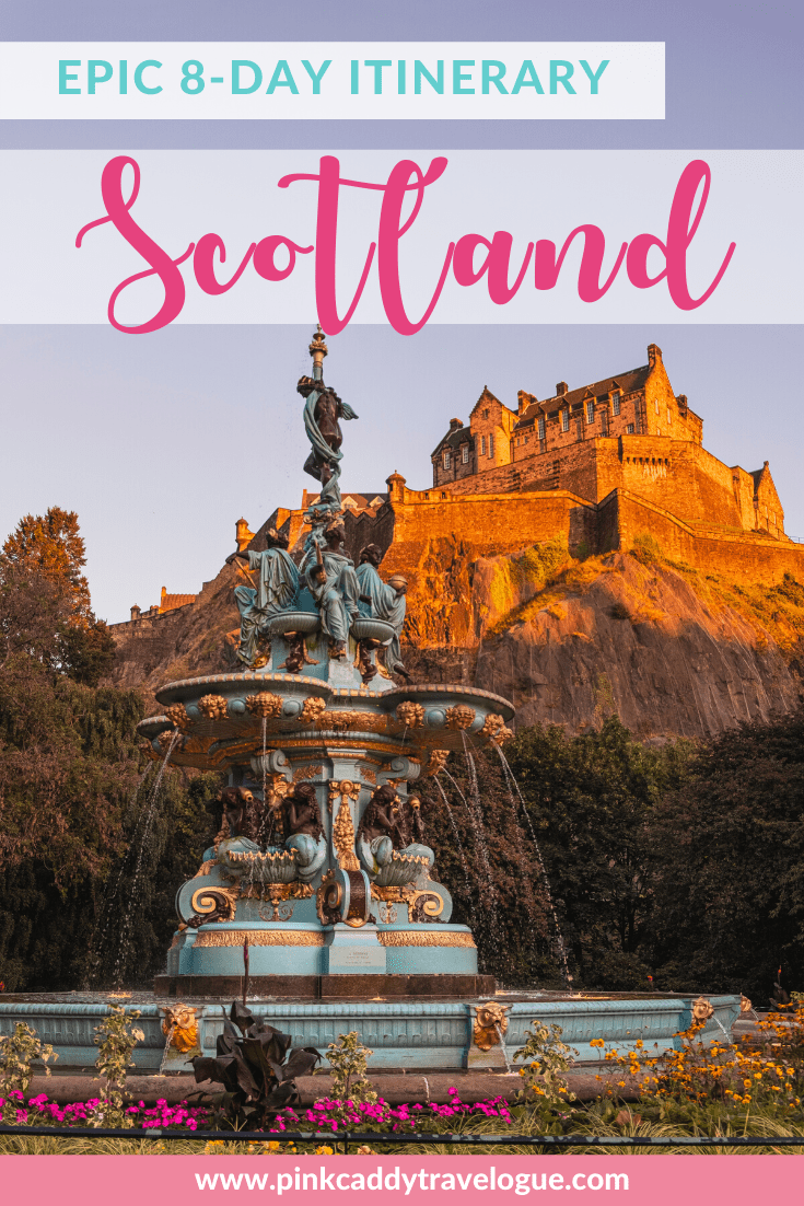 Planning a trip to Scotland? This 8 day Scotland itinerary includes castles, monuments, cities, and beautiful natural countryside! #scotland #travel #unitedkingdom #scotlanditinerary #travelplanning