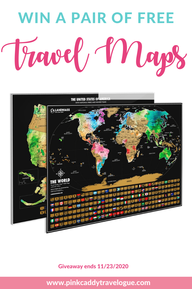 Enter to win a pair of travel scratch-off maps from Landmass Goods! These make the perfect Christmas gifts for the travel lover in your life, or a reward for yourself for surviving 2020. Entering is easy - check out the post for the details! #givewawy #travel #travelgifts