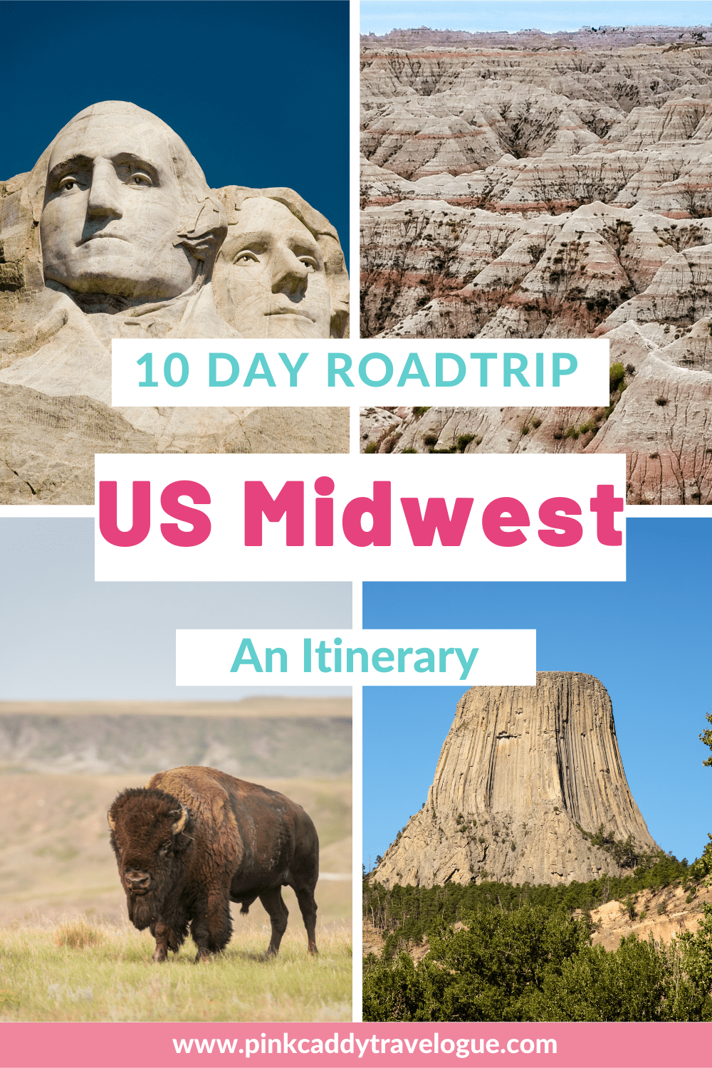 The United States's Midwest is full of hidden gems and amazing places! This 10 day road trip itinerary hits all of the highlights, like Mt. Rushmore and the Badlands, as well as a many off-the-beaten-path destinations. Check it out! #unitedstates #midwest #roadtrip #mtrushmore #devilstower #badlands