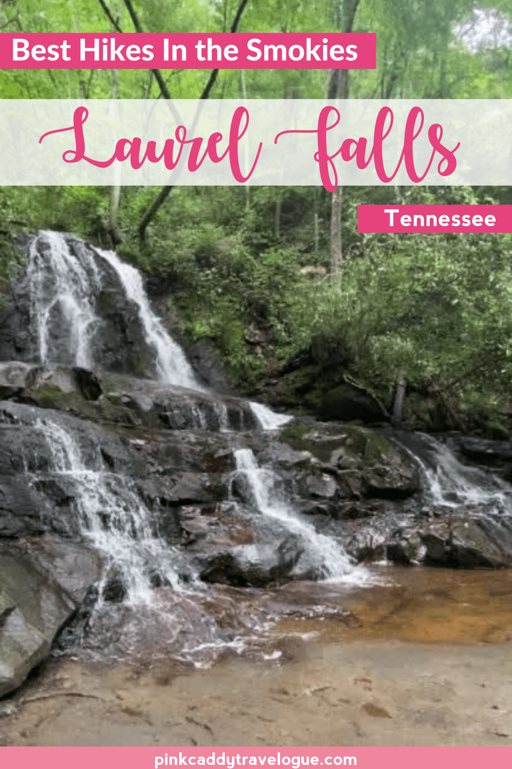 The Laurel Falls Hike in Great Smoky Moutains National Park is one of the park's most popular. It's relatively short and easy but very rewarding, and can be done by just about anyone! Read on for everything you need to know about this great hike. #tennessee #greatsmokymoutains #waterfalls #hiking #laurelfalls